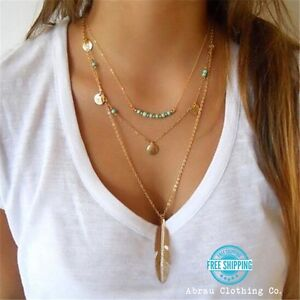 Silver-or-Gold-Long-Layered-3-Layer-Fashion-Feather-Turquoise-Boho-Necklace-USA