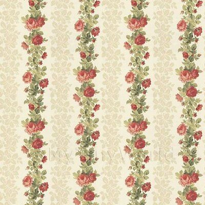 Dollhouse Miniatures Pack Of 5 Dolls House Red Climbing Rose Stripe Wallpaper Sheets Traveling