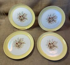 Pair china cake pastry plate servers Cunningham and Pickett Sunglow yellow daisy floral gold trim cottage style wedding tea party brunch