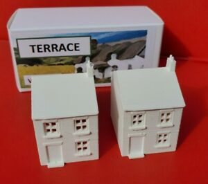 N-Gauge-Railway-Terraced-House-x2-1890s-Industrial-Building-3D-Printed-White