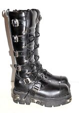 Men's NEW ROCK Reactor Black Leather Tall Knee High Boots Sz 11.5 US; 45 C EUR