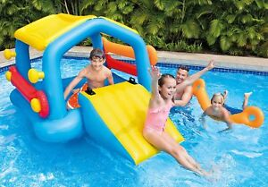 NEW-Intex-Inflatable-Pool-Island-with-Removable-Slide-Kids-Outdoor-Play-Ages-6