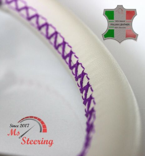 PURPLE 2 STIT FOR FIAT 500 11-19 CREME LEATHER STEERING WHEEL COVER