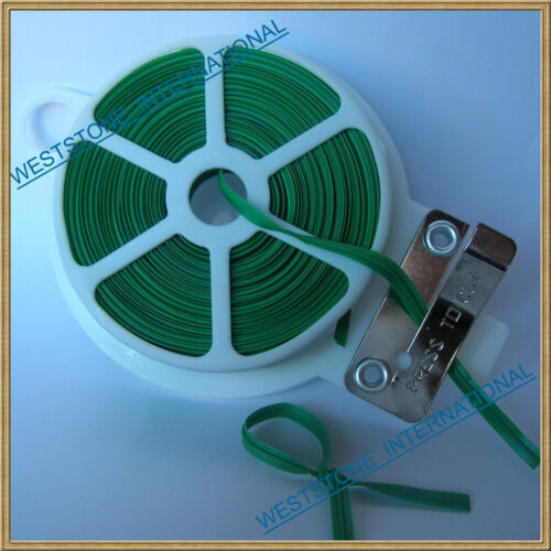 65ft 20m Green Plastic Twist Tie roll with cutter for Gardening