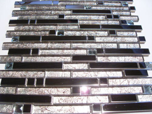 Glasmosaik Edelstahlmosaik Mosaik Metall Metalleffekt Fliese silber Diamant TOP