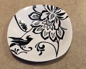 Fisher Home Products Stoneware Square Soup Bowl Black Bird & Flower Set of 4
