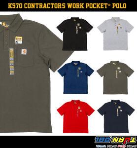Carhartt-Contractor-039-s-WORK-POCKET-Polo-T-shirt-Cotton-blend-pique-K570-Workwear