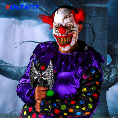 Face Latex Mask Scary Clown Halloween Costume Creepy Evil Adult Horror joker