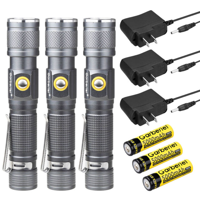 2x 6000 Lumens Zoomable Tactical T6 LED Flashlight Torch   Battery   Charger New