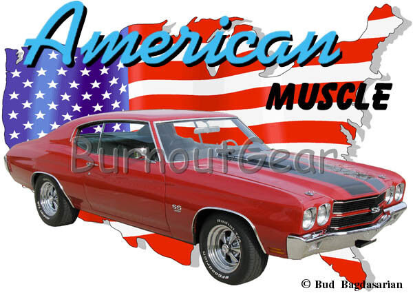 1970 ROT Chevy Chevelle SS h Custom Hot Rod USA T-Shirt 70 Muscle Car Tees