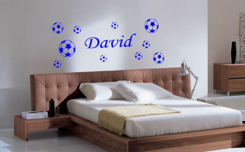 10 Ball Football Wall Art Sticker//Decals Personalised Kid Headboard Football
