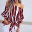 New-Womens-Striped-Loose-Sexy-Off-Shoulder-Blouse-Tops-Baggy-Casual-T-Shirt-Top thumbnail 3