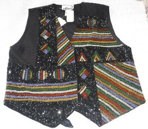 Christmas Vest.Details About Women S Christmas Vest Sequins Beads Button Size L Red Green Gold
