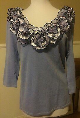 Fancy Pre-Owned Women Blouse By Leo Guy Size XL Lavender Color