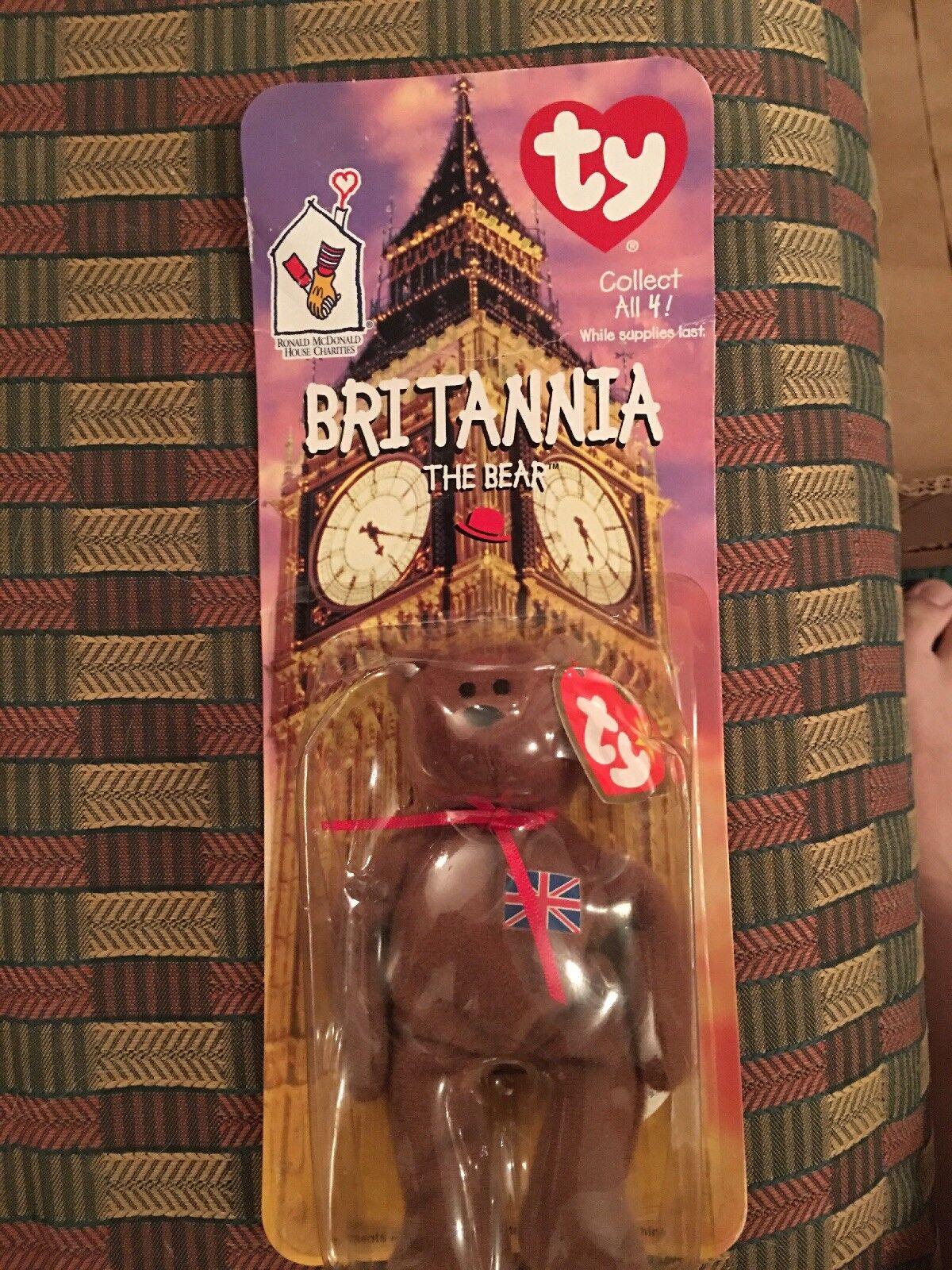 VERY RARE RARE RARE TY teddy bear Britannia Bear Year Error On The Tag da8163