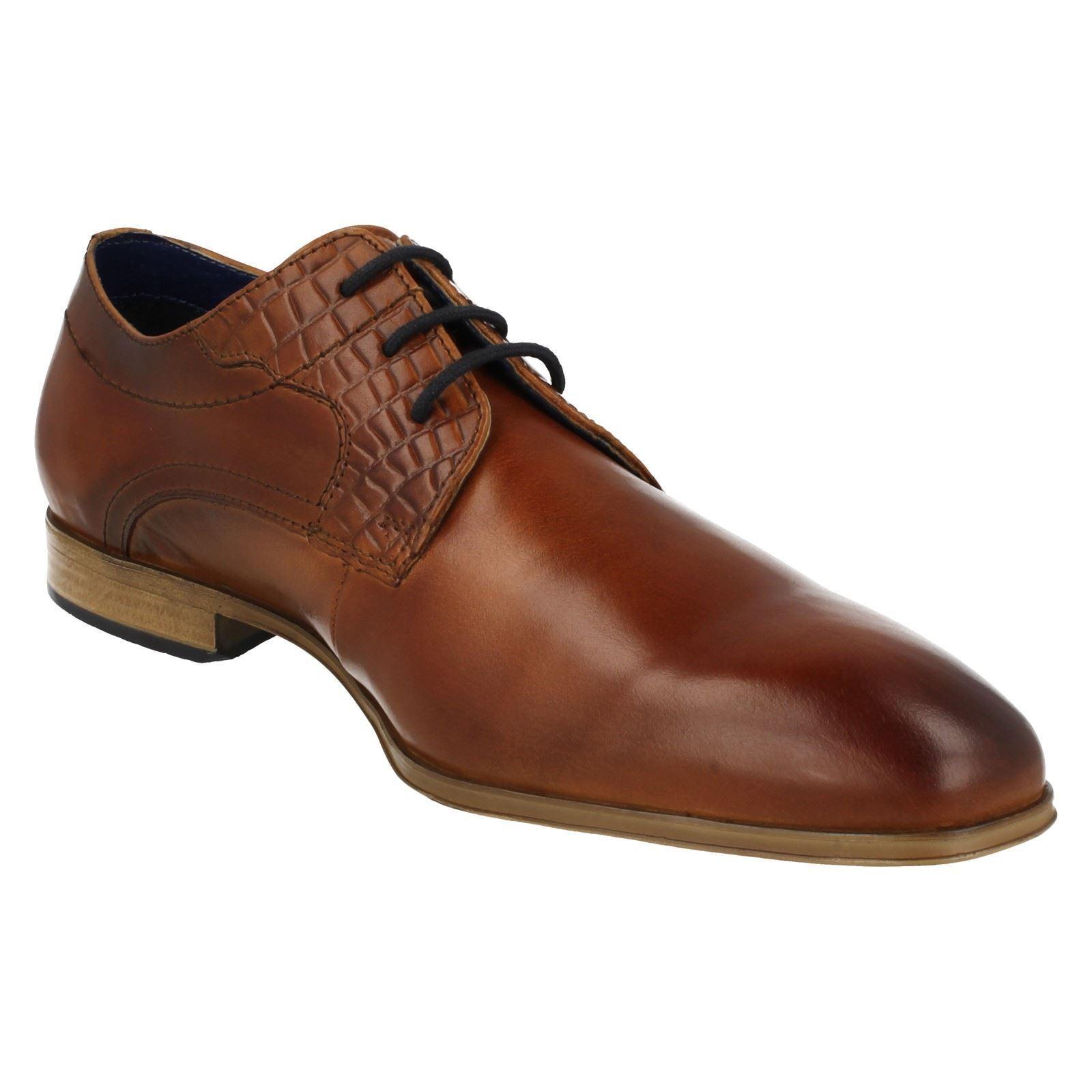 Mens Bugatti Cognac/Black Leather Formal Lace Up Shoes 311-25202