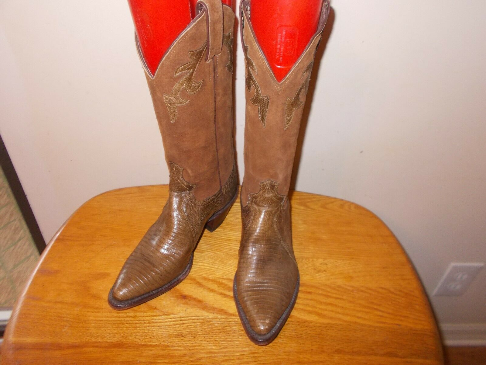 Women's JUSTIN Brown Lizard Leather & Suede Western  Boots Size 5B Made in USA