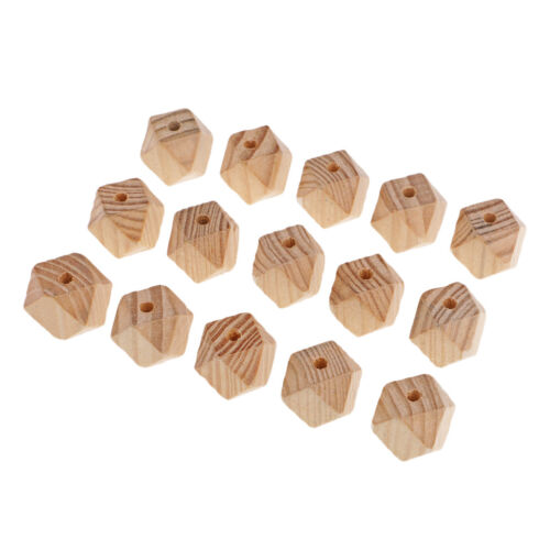 15x Unfinished Pine Wood Octagon Wooden Beads Loose Beads for DIY Craft 25mm
