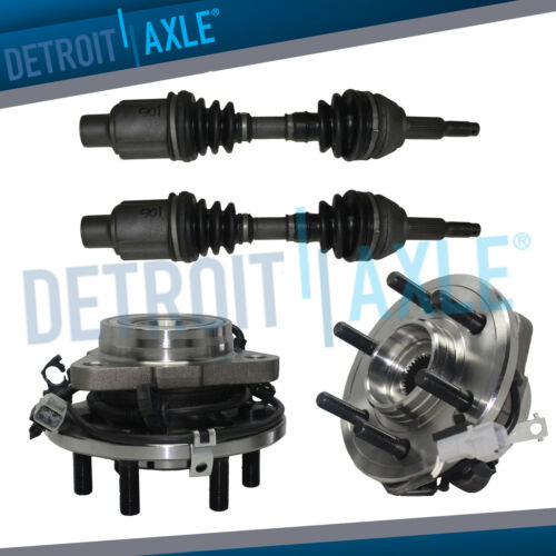 4WD Front CV Axle Drive Shafts w//Front Wheel Hubs /& Bearings Set for Dodge