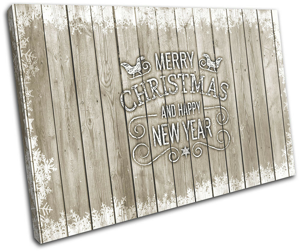Christmas Decoration Wall Canvas ART Print XMAS Picture Gift Wood 06 Cream Chris