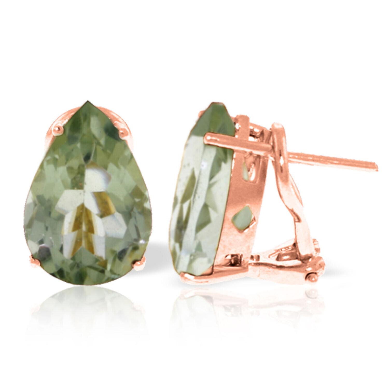 10 CTW 14K Solid pink gold pearll Shape Green Amethyst Earrings