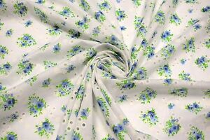 Blue-Perforated-100-Cotton-Lawn-Fabric-Floral-Embroidered-54-034-W-Sheer-Apparel