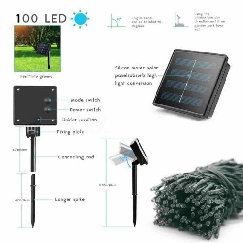 100 LED Solar Power String Fairy Light Garden Christmas Outdoor Party Decor US