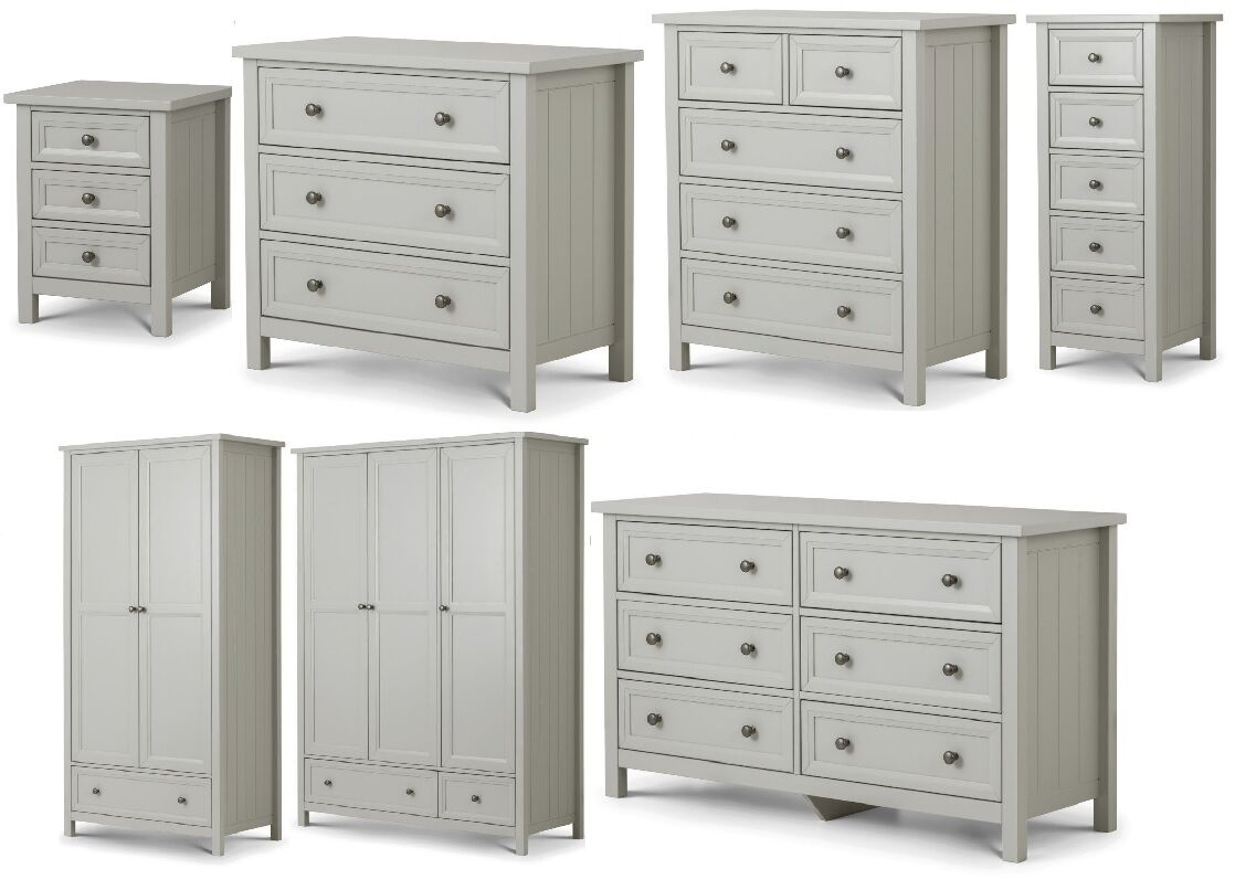 Maine Dove Grey Bedroom Furniture Range Bedside Chests Wardrobes