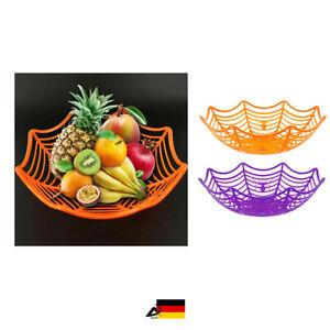 Halloween SPINNENNETZ KORB Spinne Obstteller Brotkorb Brot Cobweb Basket ABAV