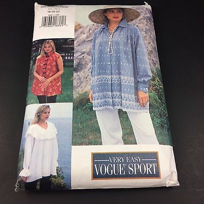 Vogue Easy 8883 Long Loose Shirt Pattern Sz 18-22 Uncut Puffy Pirate Painter Top
