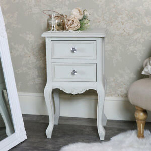 Grey Painted Bedside Table Ornate Vintage French Chic Style Bedroom