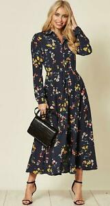 Women Ladies New Maxi Long Navy Floral Daisy Split Collar Shirt ...