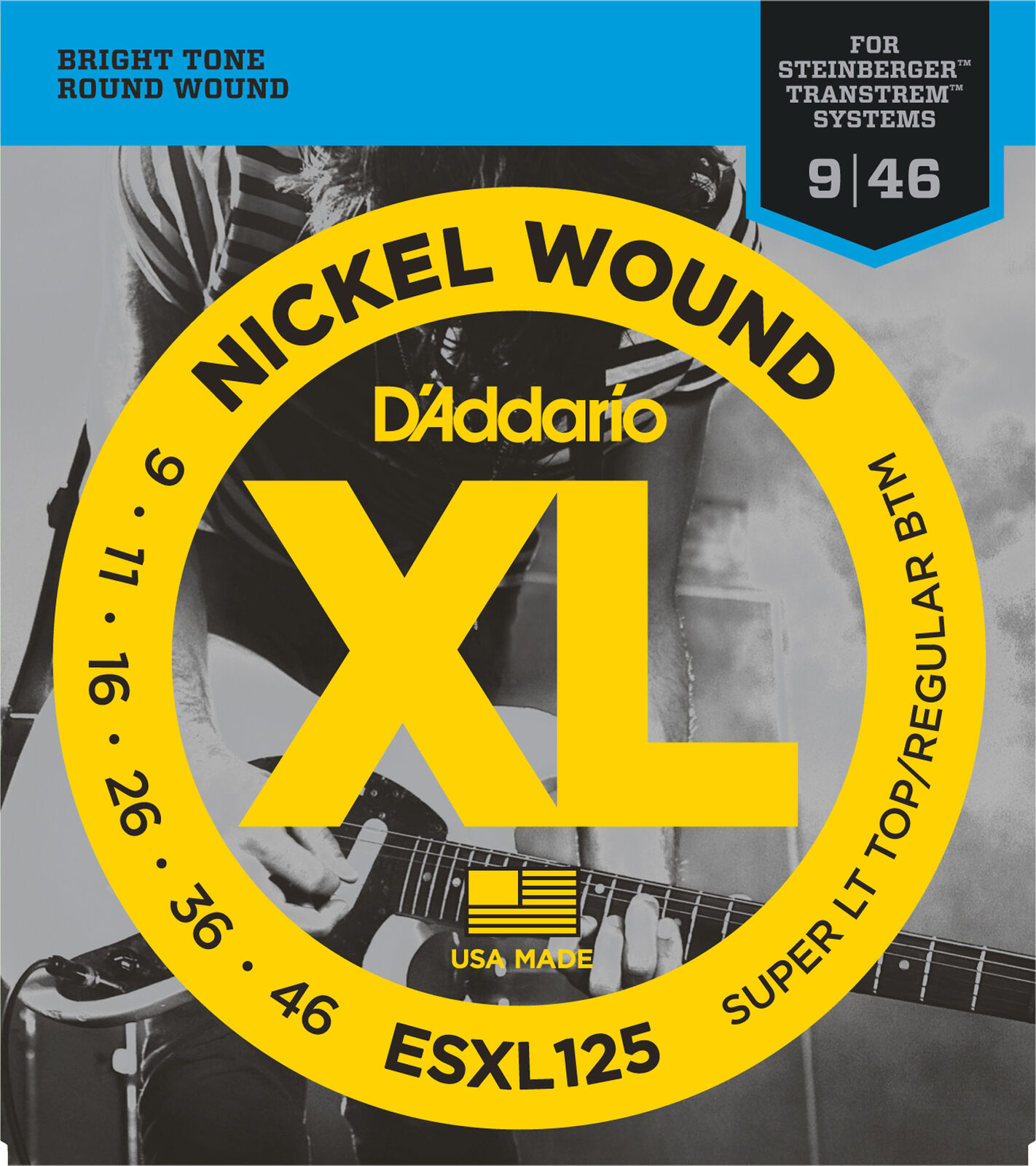 10 Juegos Cuerdas ESXL125 Doble Bola End Nickel Wound Super Lite Top Reg Fondo