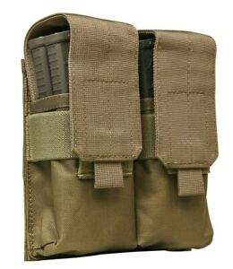 VISM-Quad-Rifle-Magazine-Pouch-w-TOP-FLAP-MOLLE-Tactical-Duty-Gear-Hunting-TAN