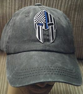 Thin Blue Line Spartan Helmet Baseball Cap U.S.A. Flag Special Dyed ... 84b4c7d670e2