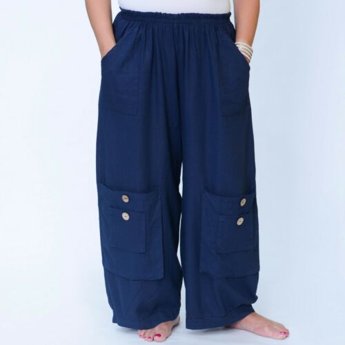 Plus Size Linen Trousers Lagenlook 16 18 20 22 24 26 28 30 32 Womens Pants 10034