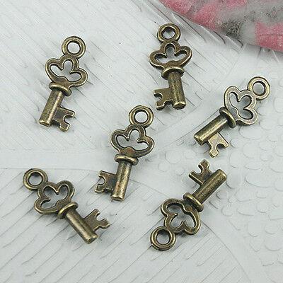 50pcs antiqued bronze color mini key design charms EF0769
