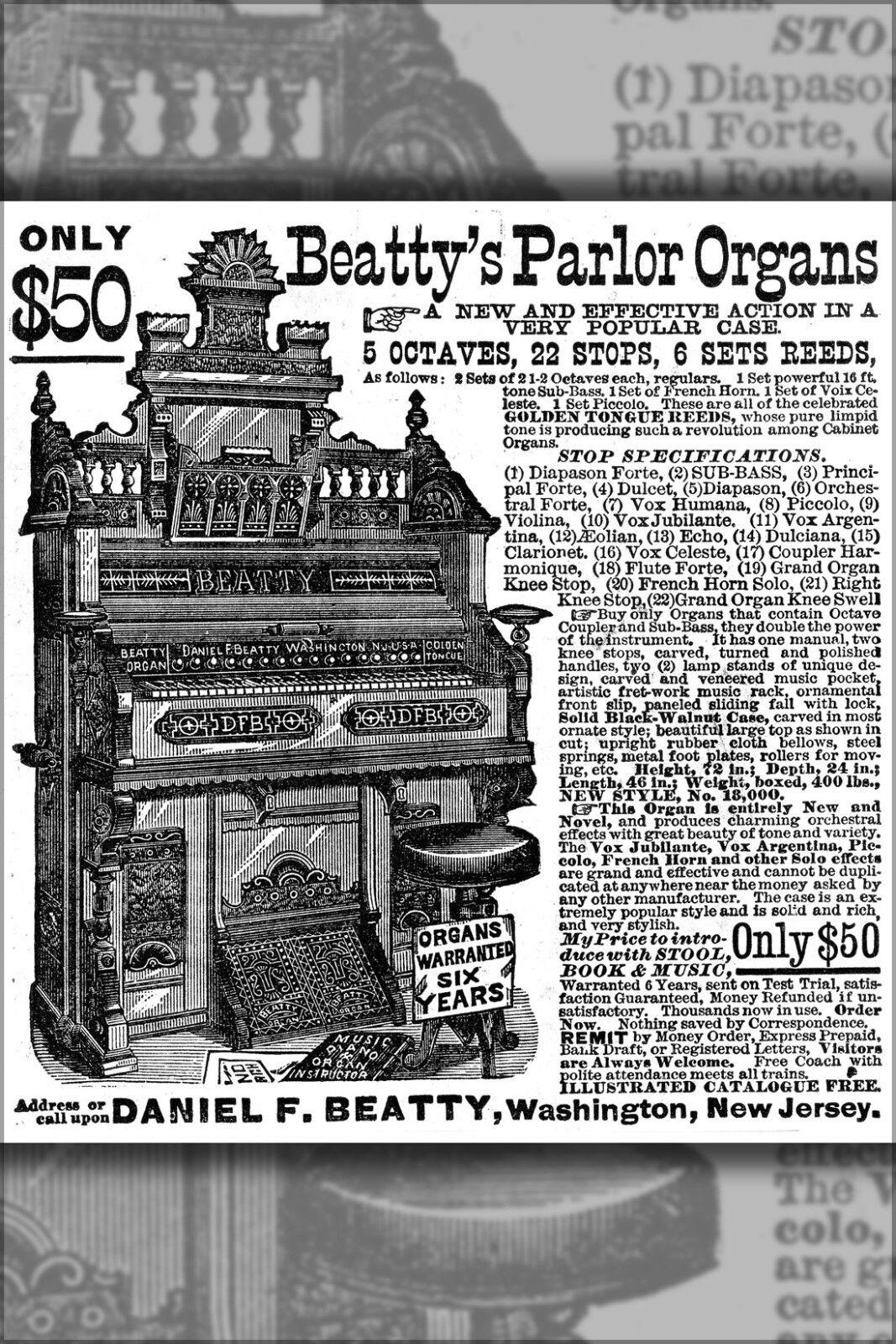 Plakat, Viele Größen; Werbung für BEATTY'S Parlor Pumpe Organ 1882