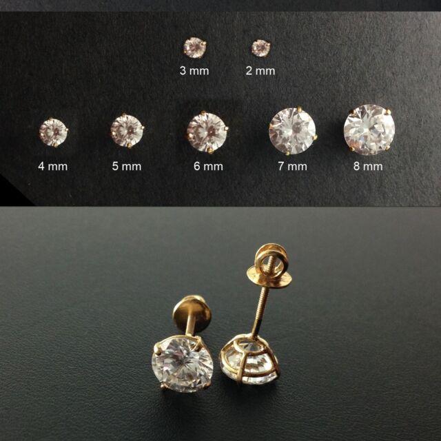 Gold Vermeil Screw-Back ROUND Cut Stud Earrings-CubicZ-Gold Earrings/2 mm~8 mm