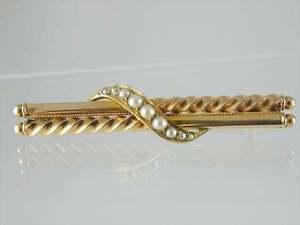 Antique-18ct-gold-Victorian-pearl-twist-bar-brooch-circa-1880
