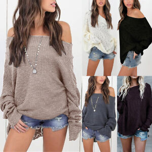 Womens-Off-The-Shoulder-Baggy-Ladies-Tops-Loose-Knitted-Oversized-Sweater-Jumper