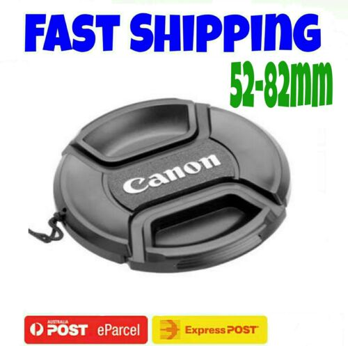 CANON LENS CAP 52,55,58,62,67,72,77,82 mm Camera Snapon Len Cap Cover + Cord
