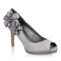 Ladies Ruby Shoo Donna Silver Heeled Peep Toe Court Shoes Sizes Uk 3 - 8