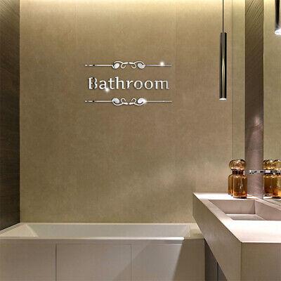 1pcs 3D Acrylic Mirror Wall Sticker Bathroom Alphabet Door Sign DIY Home Decor