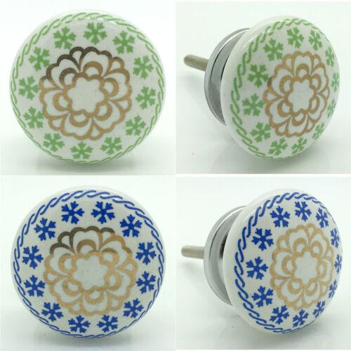 Blue Green Gold Ceramic Door Knobs Porcelain Kitchen Door Handles Cupboard Pulls
