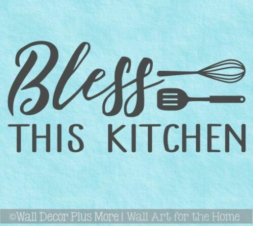 Kitchen Quote Stickers Bless This Kitchen Wall Decor Vinyl Lettering Decals