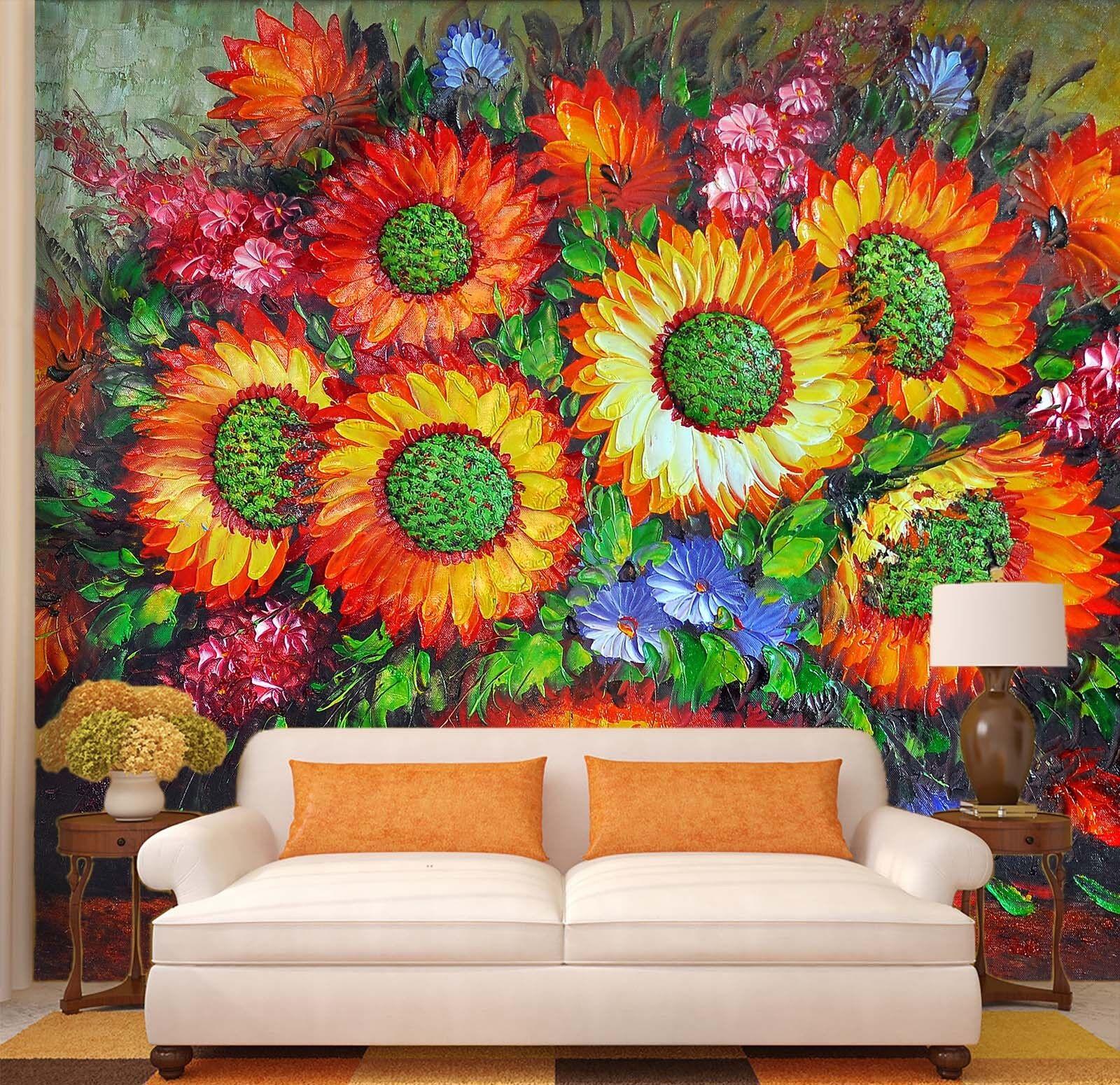 Papel Pintado Mural De Vellón Girasol Pintura Al Óleo 23 Paisaje Fondo Pansize