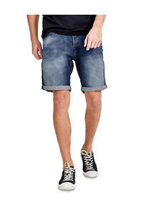 NEW-Jack-amp-Jones-Regular-Fit-Indigo-Knit-Denim-Shorts-Blue