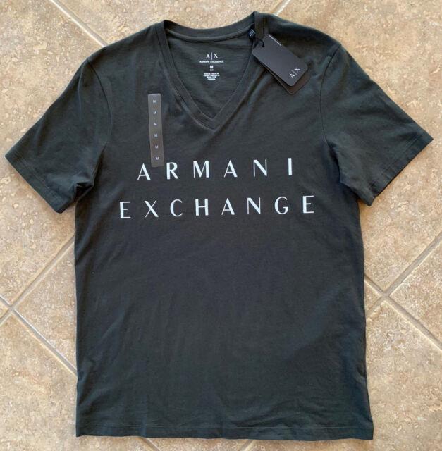 df4af191 Armani Exchange A X Classic Minimal Logo V Neck T Shirt Slim M Dark Olive