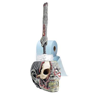 Zombie Skull & Arm Halloween Bathroom Decor Toilet Bowl Brush and Brush Holder